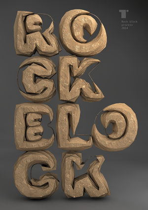 Rock block – Typography made ​​of boulders.
