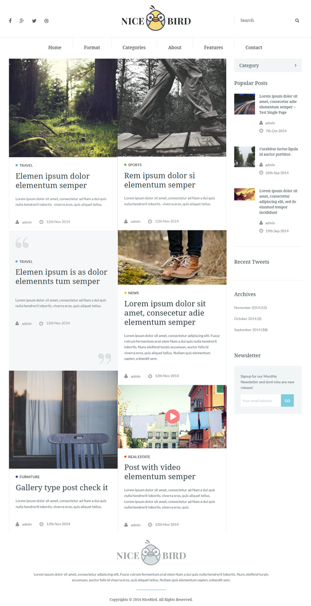 NiceBird is purpose oriented clean responsive WordPress Theme. It is highly suitable for Newspap ...
