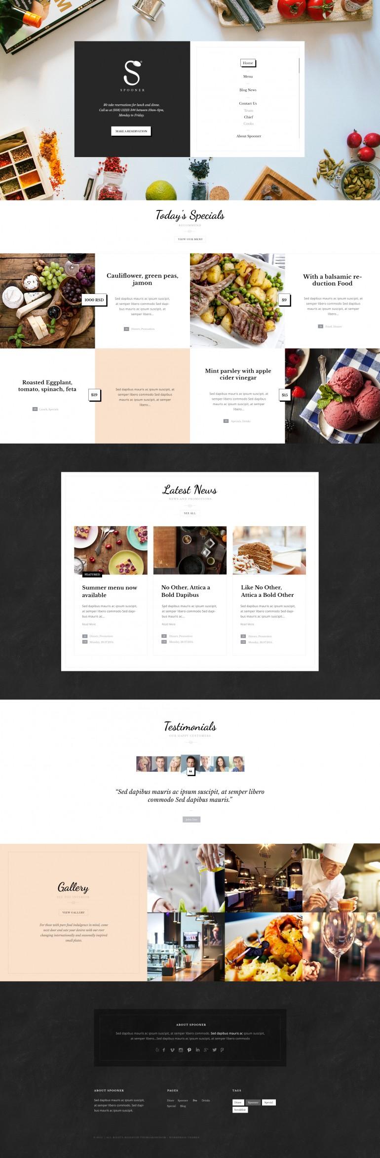 Spooner – Restaurant & Bar WordPress Theme