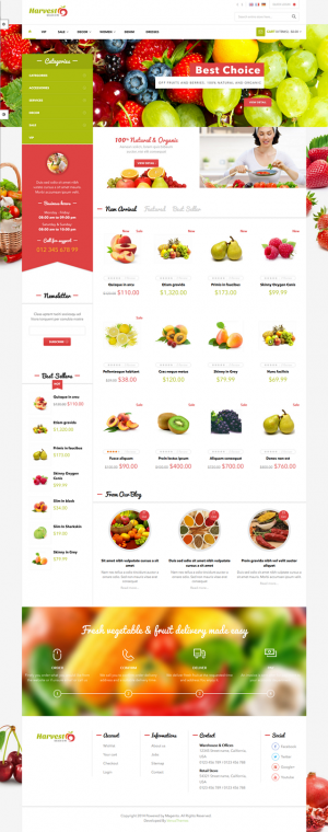 Venus Harvest Store is a Responsive Magento Template suitable for any kind of Food Store, Fruit  ...