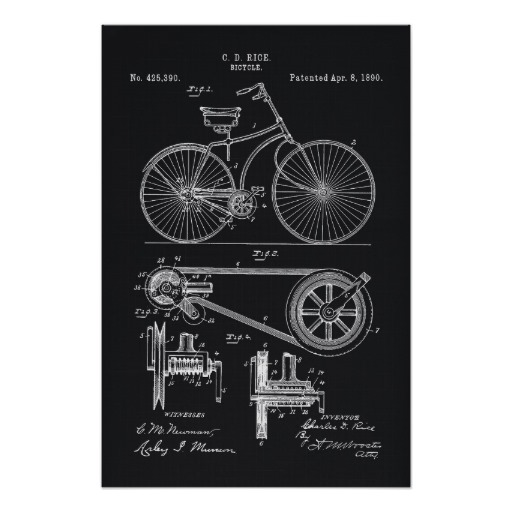 Vintage posters, 1890 Bicycle patent blueprint