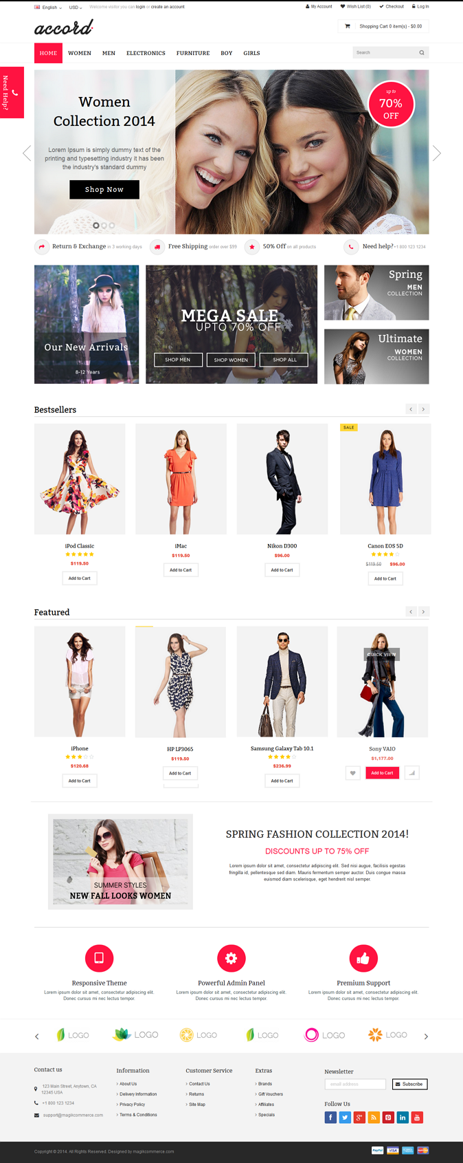 Accord is a responsive multipurpose OpenCart theme which is fully customizable and suitable for  ...