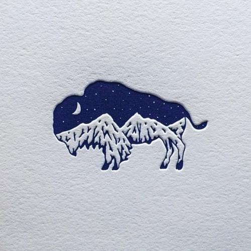 My bison mountain logo design
