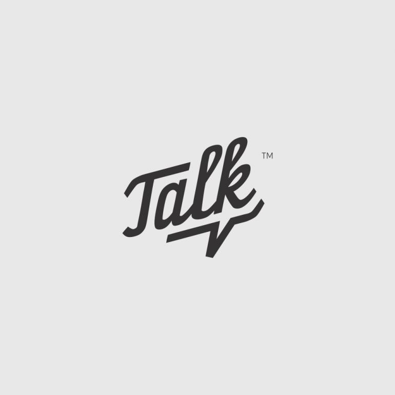 Talk logo with a subtle speech bubble