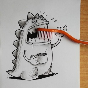 Doodles act together with real life Objects