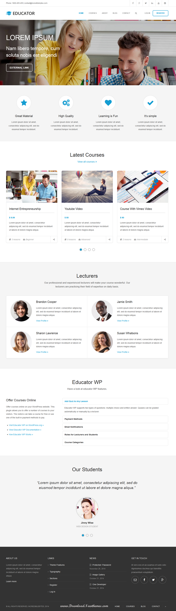 Educator WP is Learning Management System theme for WordPress. It is created for the Educator WP ...