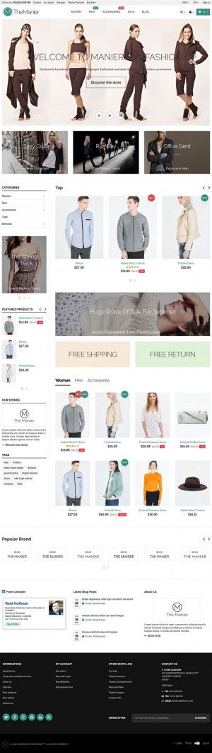 The Manier is a highly customizable responsive and parallax Prestashop theme, a multipurpose eCo ...