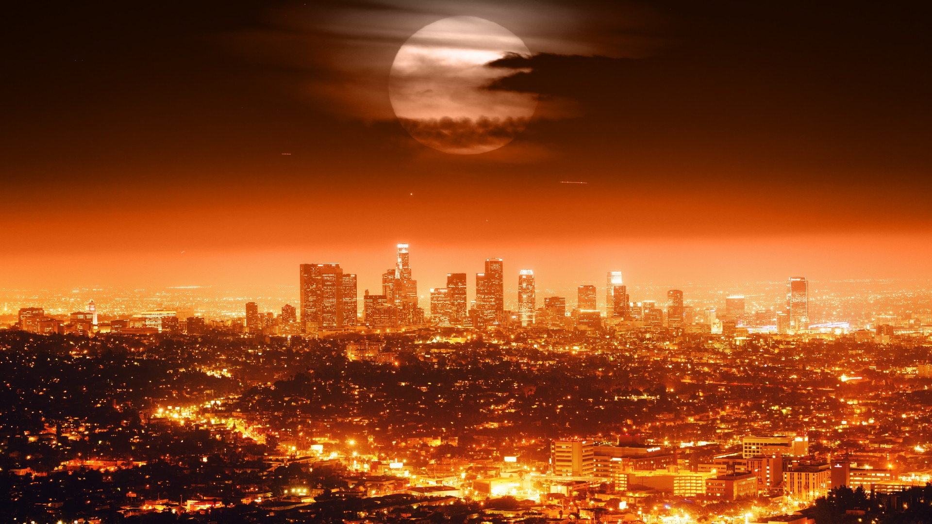Full Moon Over The City – Photography Wallpapers