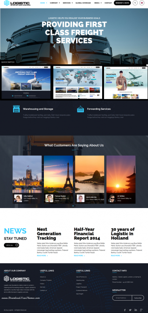 Logistic is a premium responsive WordPress theme created especially for logistic & transport ...
