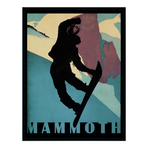 Mammoth Snowboarding girl winter sports poster | Zazzle