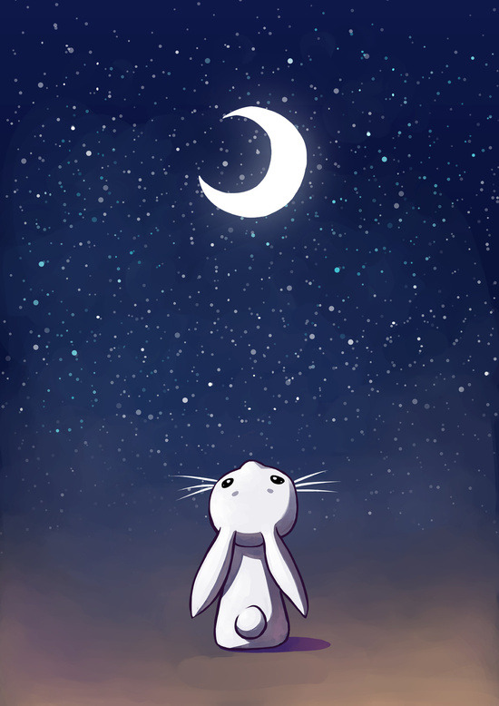 Moon Bunny Art Print by Freeminds