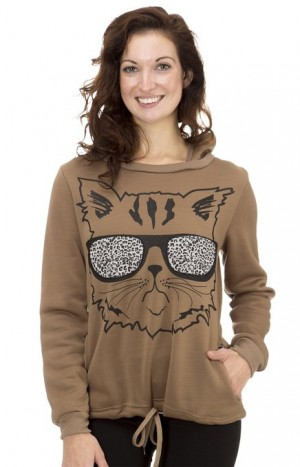 Classic Designs Womens Cool Cat Leopard Fleece Hoodie