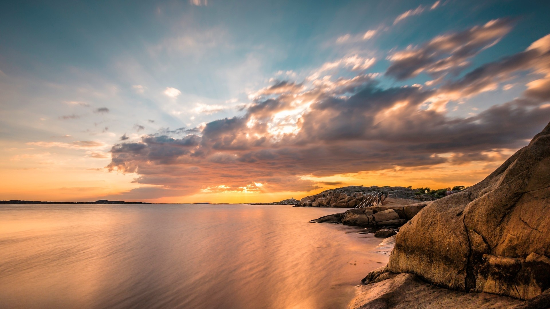 Seascape With A Rocky Shore Clouds – Photography Wallpapers