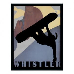 Whistler Snowboarding woman winter sports poster | Zazzle