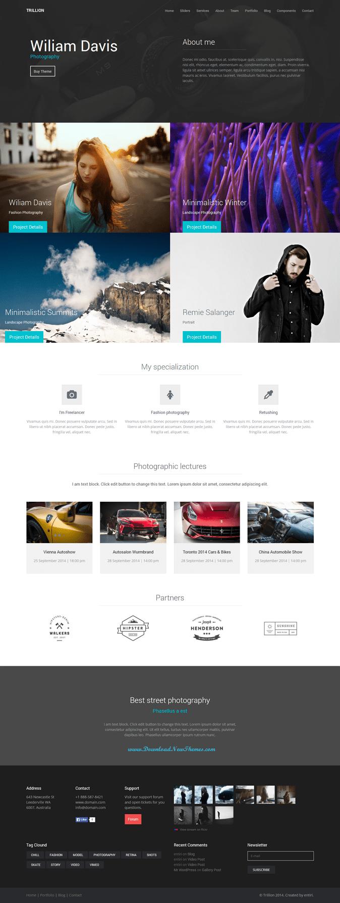 TRILLION is responsive multipurpose WordPress theme suitable for restaurants, car dealers, portf ...
