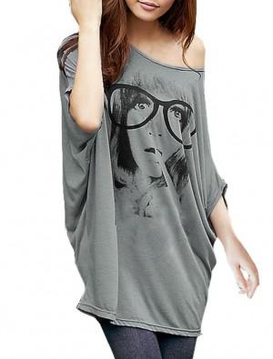 Allegra K Women's Batwing Sleeve Portrait Letters Print Front Tunic Shirt