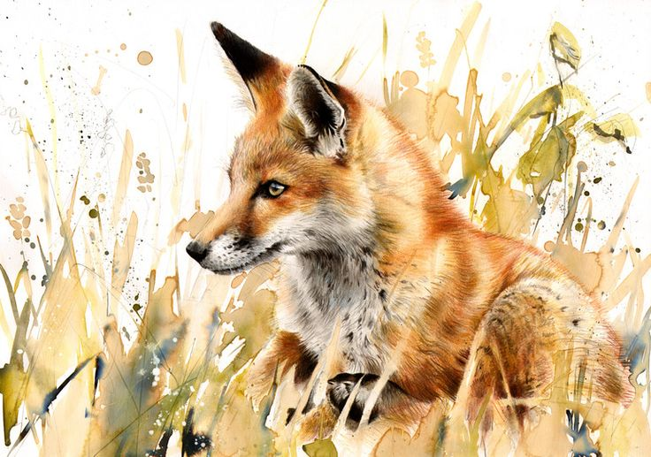 "Saatchi Online Artist: Lucy Newton; Other, Mixed Media ""Red Fox""."