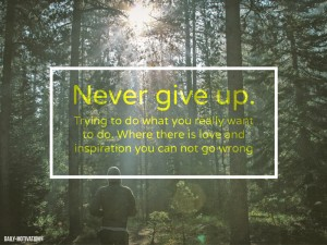 Never give up. Trying to do what you really want to do. Where there is love and inspiration you  ...