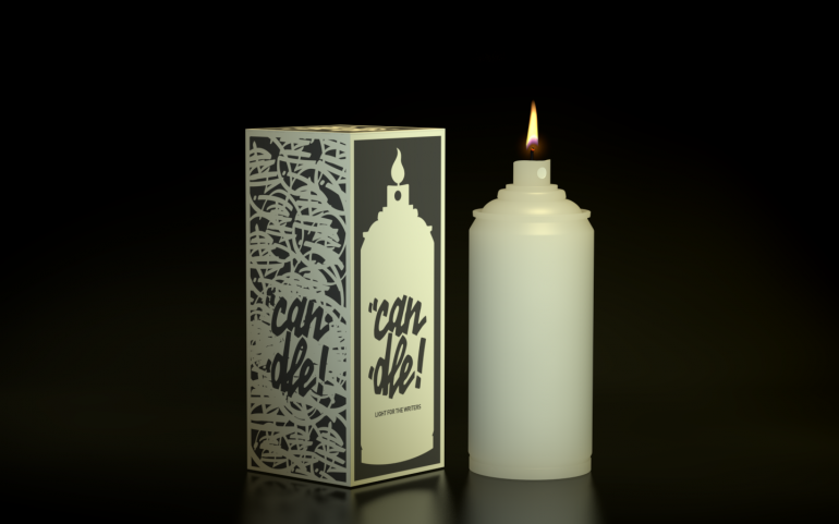 Graffiti can shaped candle