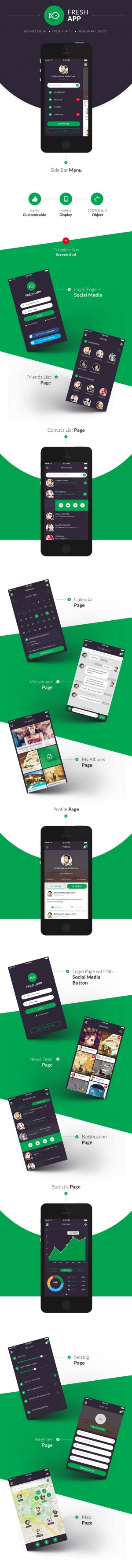 Fresh Flat Mobile UI Kit
