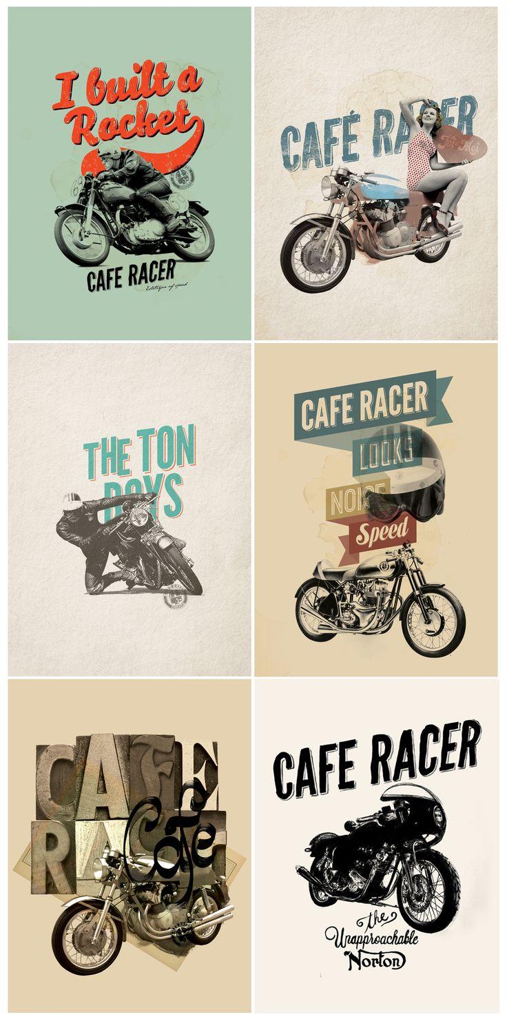 6 vintage motorcycle posters