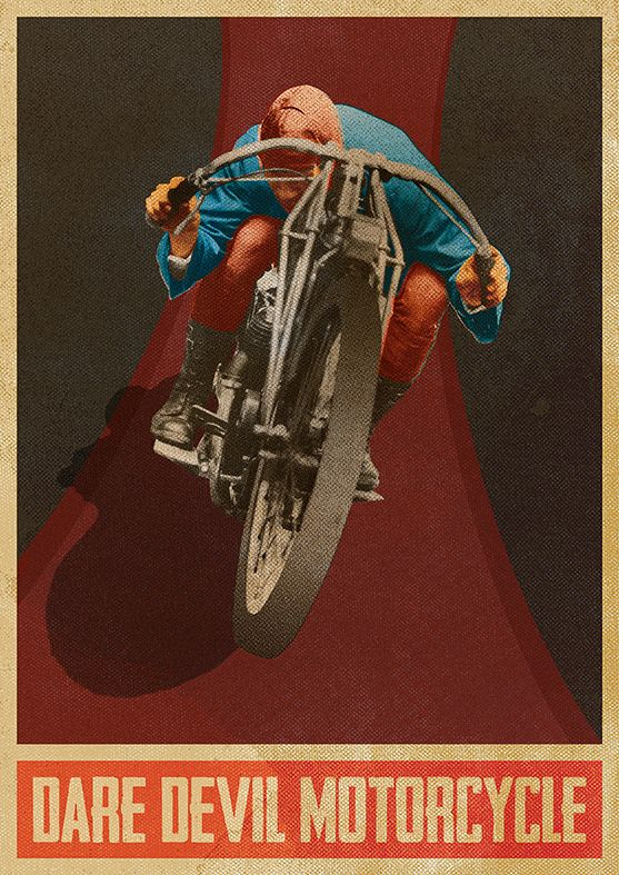 Dare Devil Motorcycle Beautiful vintage poster with editable text.