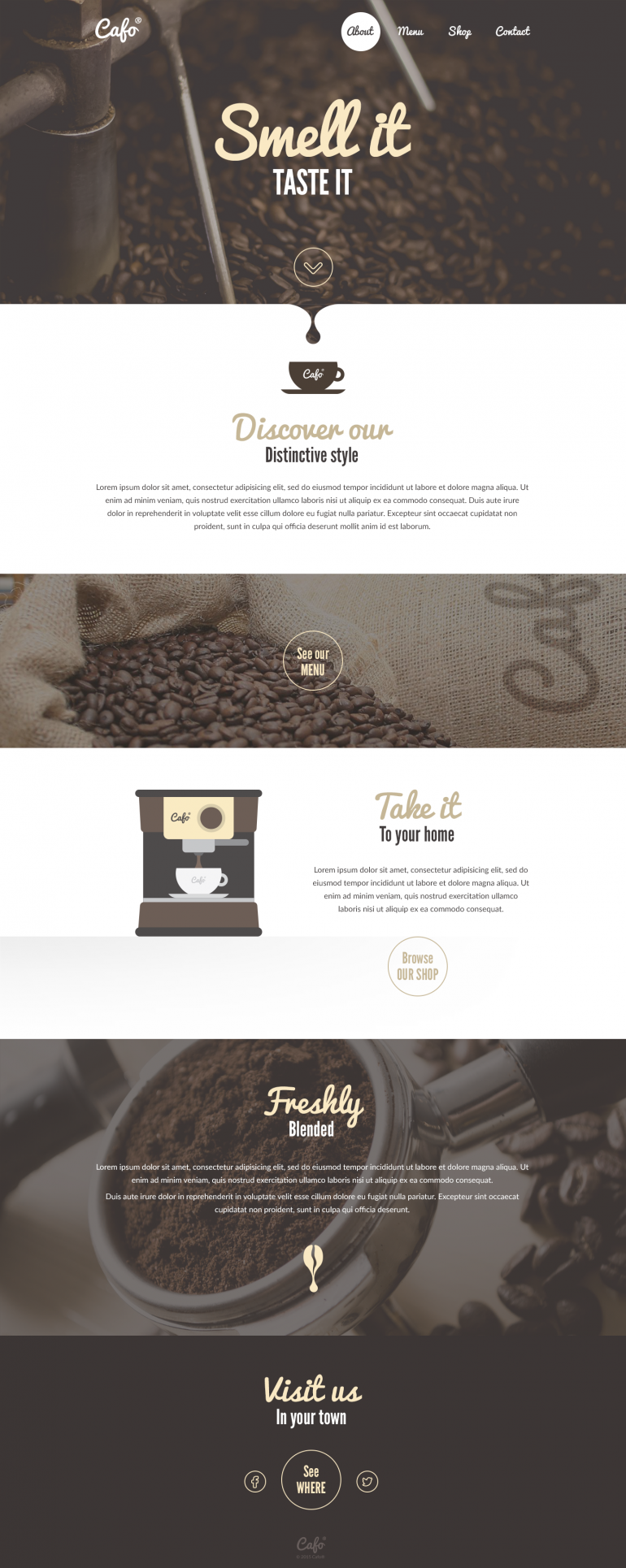 Smell it – Coffee Shop Landingpage Idea.