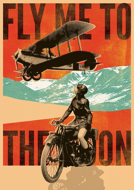 Fly with me Beautiful vintage poster with editable text.