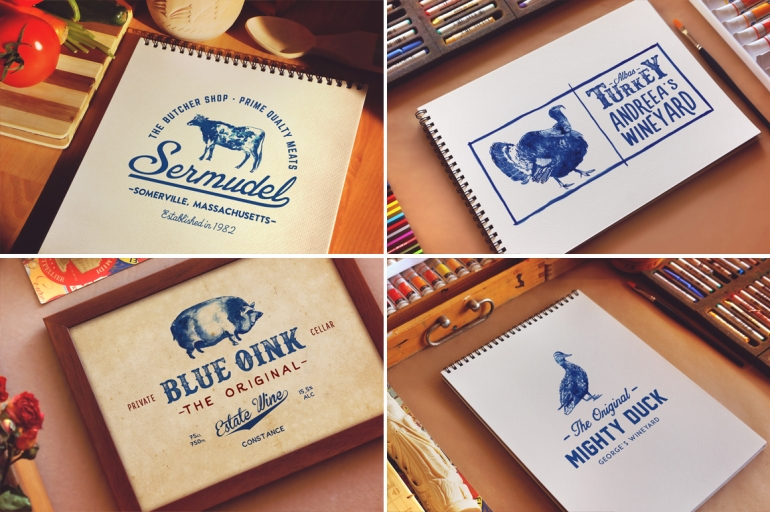 Handpainted Logos of Domestic Animals with editable text