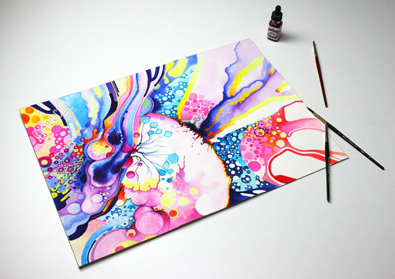 Original Watercolor Painting Abstract Infinite Flare by JeffJag
