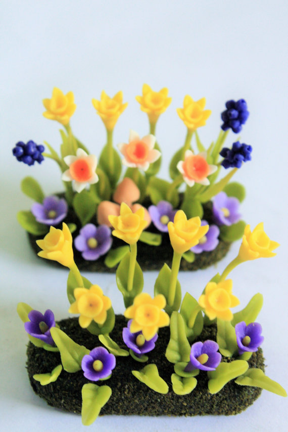 Polymer Clay Daffodils Flowers Miniature Garden by Mycraftgarden
