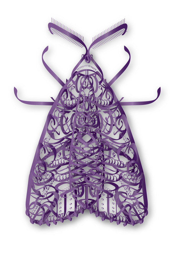Moth made out of letters from the font Myriad Pro.
