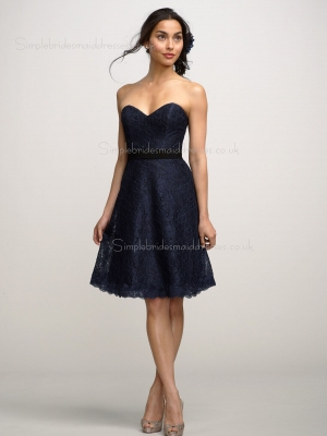 Natural Sweetheart Strapless A-line Black Sash/Applique Zipper Knee-length Lace Bridesmaid Dress ...