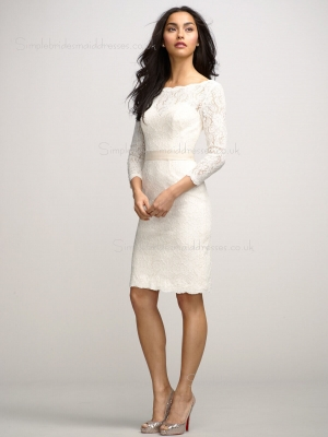 Zipper Applique Natural Knee-length Champagne Short Sleeve Column Sheath Lace Bateau Bridesmaid  ...