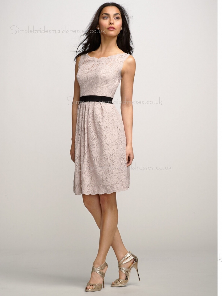 Knee-length A-line Bateau Backless Pink Natural Sleeveless Sash/Applique Lace Bridesmaid Dress
