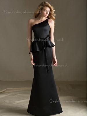 Black Floor-length Sash/Tiered One Shoulder Column Sheath Zipper Sleeveless Satin Natural Brides ...