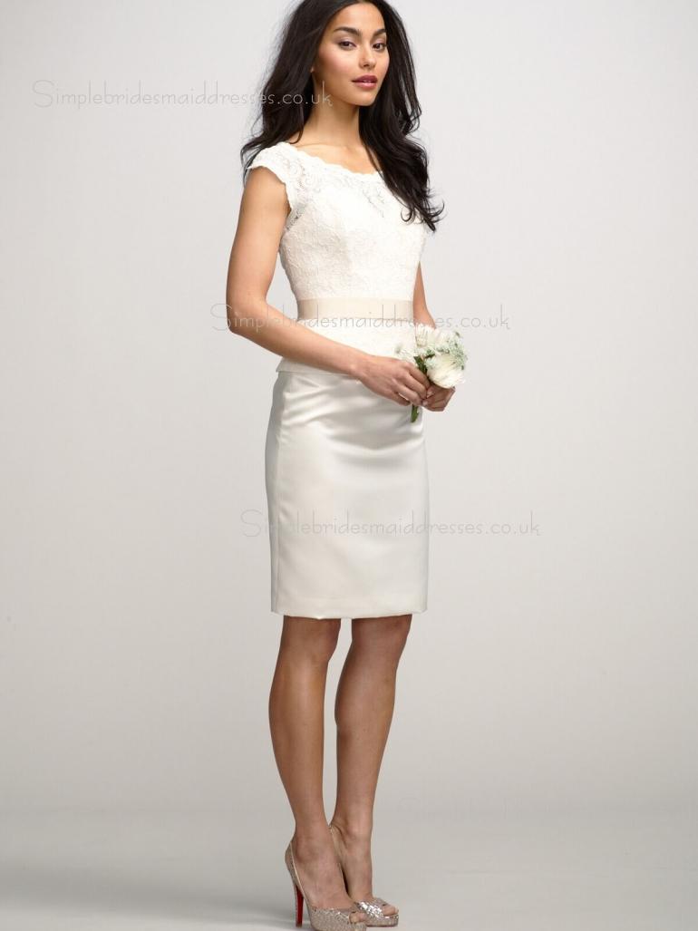 Column Sheath Lace Zipper Natural White Bateau Cap Sleeve Knee-length Sash/Applique Bridesmaid Dress