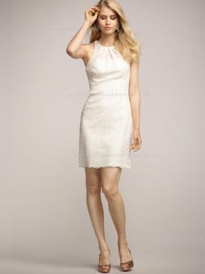 Natural Short-length Sleeveless High Neck Applique Lace Column Sheath Ivory Zipper Bridesmaid Dress