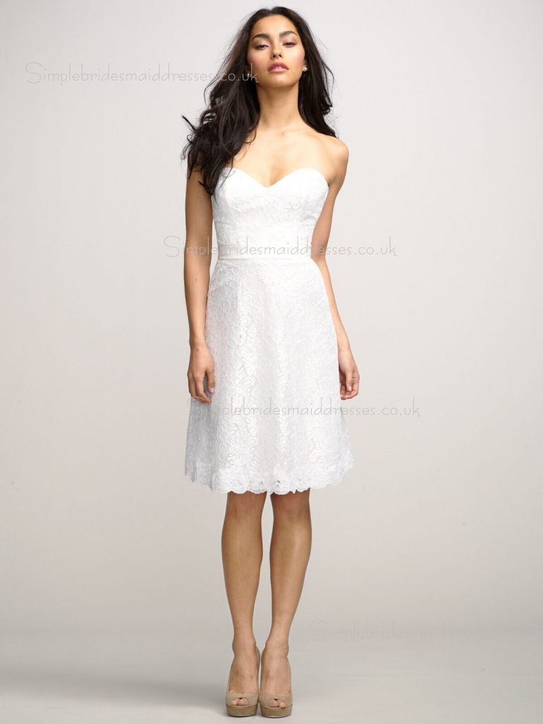 A-line Sleeveless White Zipper Knee-length Empire Lace Sweetheart Applique Bridesmaid Dress