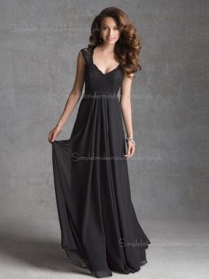 Floor-length V-neck A-line Black Empire Applique Sleeveless Lace/Chiffon Zipper Bridesmaid Dress