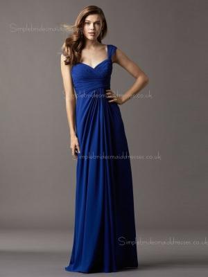 Empire Chiffon Royal Blue Column Sheath Draped Sleeveless Floor-length V-neck Zipper Bridesmaid  ...