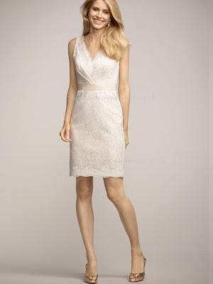 Applique/Sash Short-length Column Sheath Empire Lace Sleeveless Champagne Zipper V-neck Bridesma ...