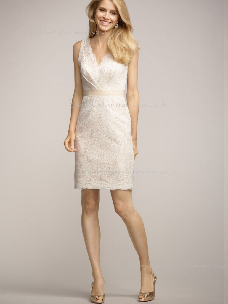 Applique/Sash Short-length Column Sheath Empire Lace Sleeveless Champagne Zipper V-neck Bridesma ...