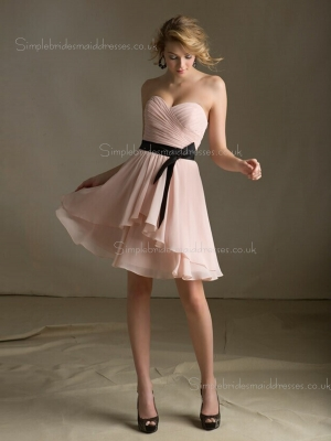 Chiffon A-line Zipper Tiered/Belt Sweetheart Dropped Sleeveless Knee-length Indy Pink Bridesmaid ...