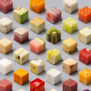 CUBES: 98 Food precision cut to a photo without retouching