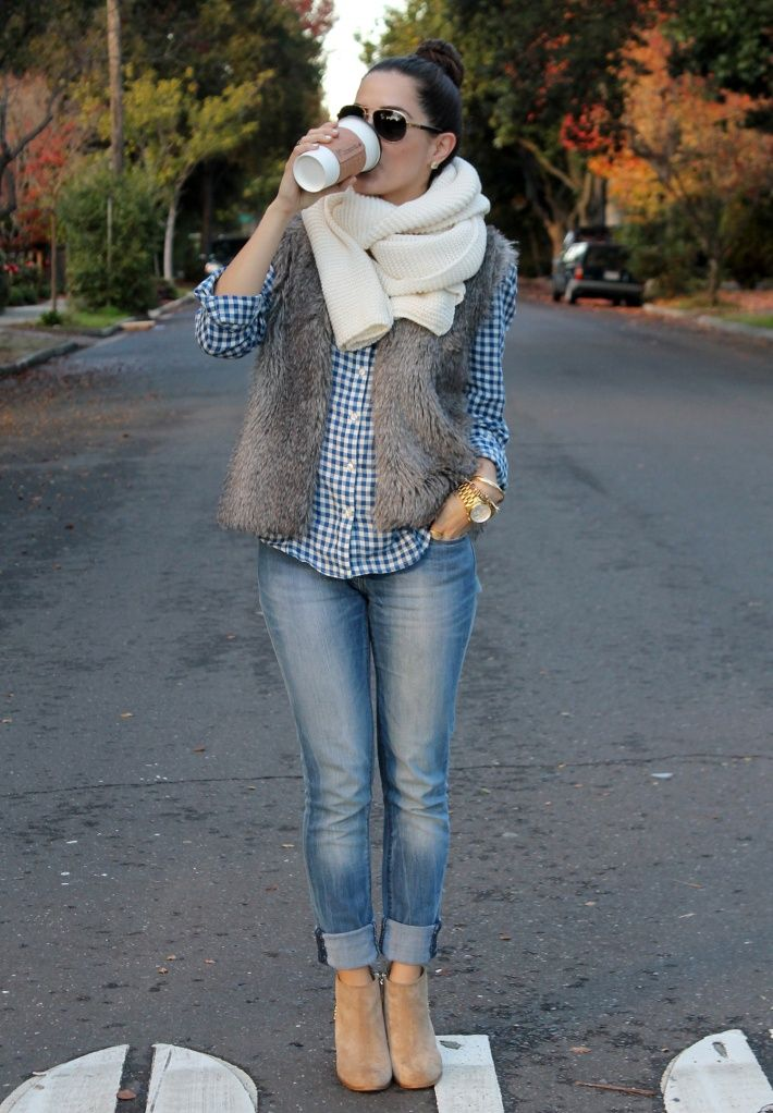 Jeans with white fluffy scarf