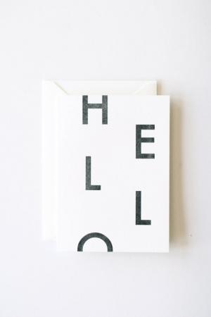 Hello Letterpress Printed Greeting Card by inhauspress