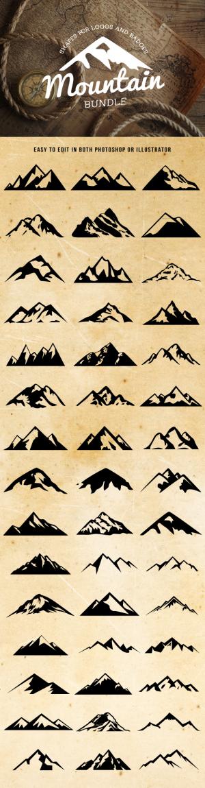 Mountain Shapes For Logos Bundle ~ Shapes on Creative Market
