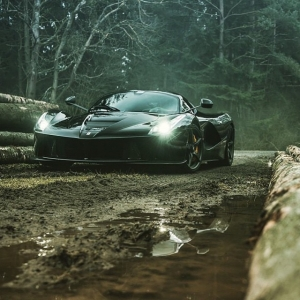 Ferrari Laferrari in the mud.