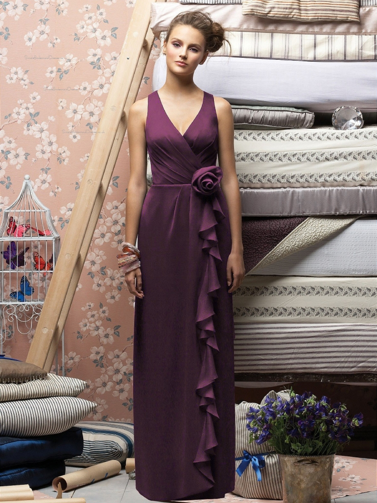 Chiffon V neck Sheath Floor-length Sleeveless Natural Purple Zipper Bridesmaid Dress